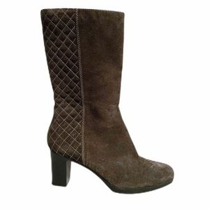 Aquatalia suede quilted heeled boots
